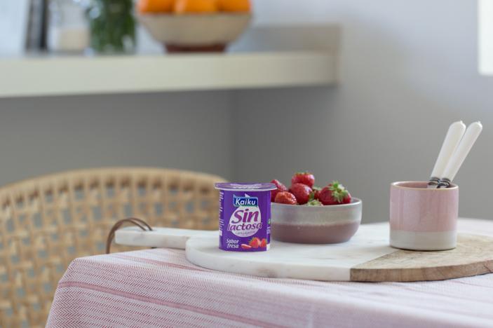 Yogures sin lactosa Fresa, postres saludables